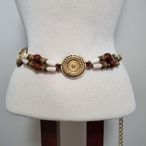 Vintage | Beaded Gold Medallion Chain Belt